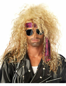Adult Mens Heavy Metal Rocker Blonde 80s Wig Fancy Dress Music Costume Outfit