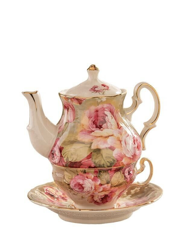 Victorian Trading Co Victoria Cabbage Roses Tea for One Teap