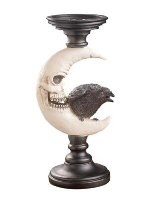Victorian Trading Co Raven's Roost Bird & Moon Taper & Pillar Candle Pedestal