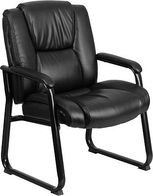 Hercules 500 Lb. Capacity Big Tall Black Leather Executive Office Side Chair