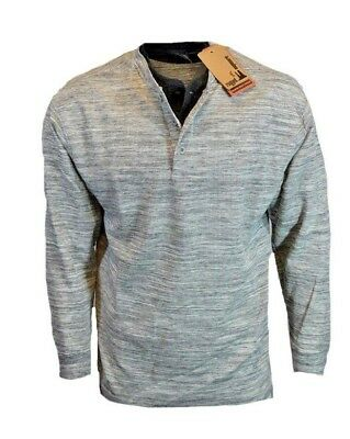 Mens Long Sleeve Thermal Tee (Mens Thermal Button Henley Tee Shirt Double Neck Long Sleeve Rugged Exposure NEW)