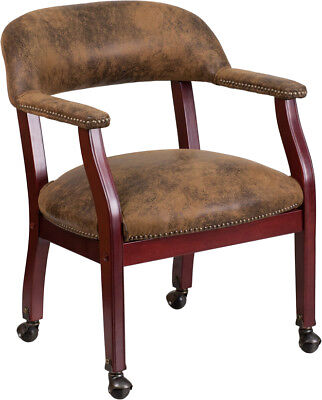 Bomber Brown Or Gray Mahogany Wrap Around Back Captains Desk Guest Side Chairs