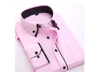 New Mens Double Collar Formal Slim Casual Long Sleeve Business Dress Shirt. Regular fitting