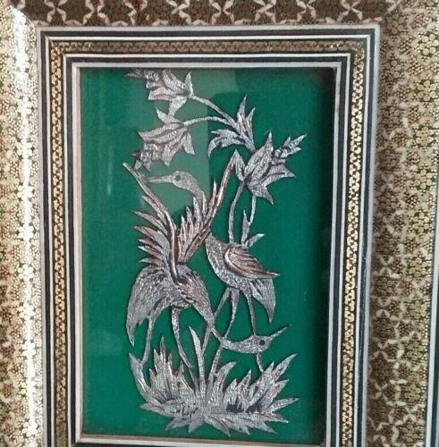 Vintage Persian Khatam Inlaid Micro Mosaic Frame w/Painting 7 1/2 x 6 Framed