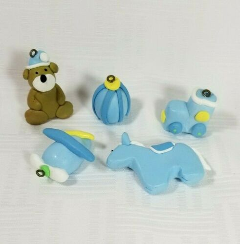 Lot of 5 Miniature Polymer Clay Baby BOY Shower Ornament Package Decoration