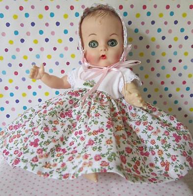 Adorable Pink Rose Floral Dress & Bonnet For Vogue Ginnette Baby 8in Doll