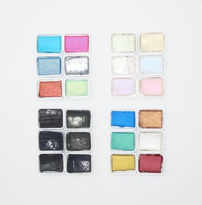Japanese Watercolor Solid Paint Mini Set Esumi Pearl Metal Aurora Colors Japan  - Mini Paint Set