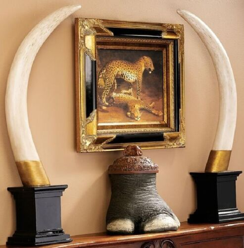 Set of 2 Exotic Elephant Tusk Big Game Hunter