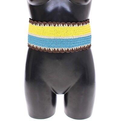 Nwt Dolce & Gabbana Cinturón Amarillo Rayas Cintura Ancha Rafia Waist.65cm/66cm