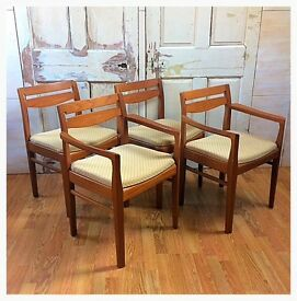 1960's 1970's mid century vintage retro teak Nathan dining chairs including 2 carvers