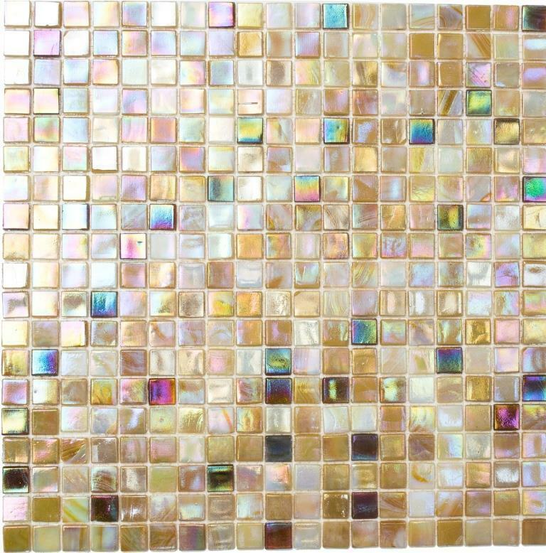Glasmosaik sandfarbend mix Boden WC Küche Wand Fliesenspiegel WB58-1204  1 Matte
