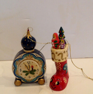 Vtg.Two Russian-Hand-Carved-Lacquered-Painted-Wood-Christmas-Ornaments  1996 - Painting Christmas Ornaments