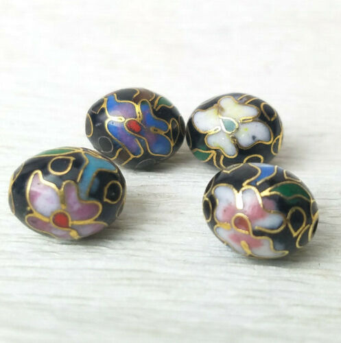 Vintage Black Mixed Color Flowers Cloisonne Chinese Enamel 11x9mm Oval 4 Beads
