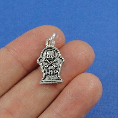 Silver Tombstone Charm - Gravestone Headstone Charm - Halloween Pendant NEW - Halloween Headstone