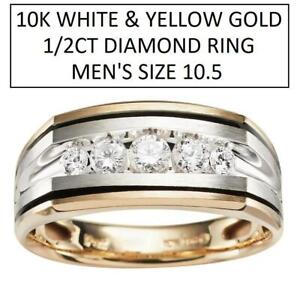 NEW* MENS 10K 1/2CT DIAMOND RING 63388XGW0X 229050322 SIZE 10.5 WHITE AND YELLOW GOLD JEWELLERY JEWELRY