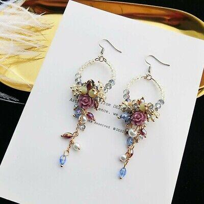 HANDMADE Bohemian Ring Rose Pearls Crystals Floral Earrings Pearl Rose Earrings