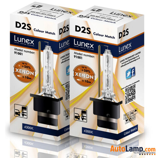 2 x D2S Genuine LUNEX XENON BULB REPLACEMENT FOR PHILIPS , GE OR OSRAM  - 4300K