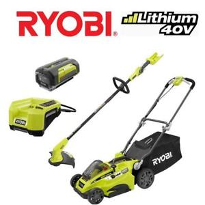 NEW RYOBI 40V MOWER  TRIMMER RY401424 199590950 W/BATTERy  CHARGER LITHIUM ION LAWN MOWER