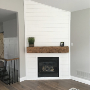 Reclaimed Barn Wood Beam Fireplace Mantles