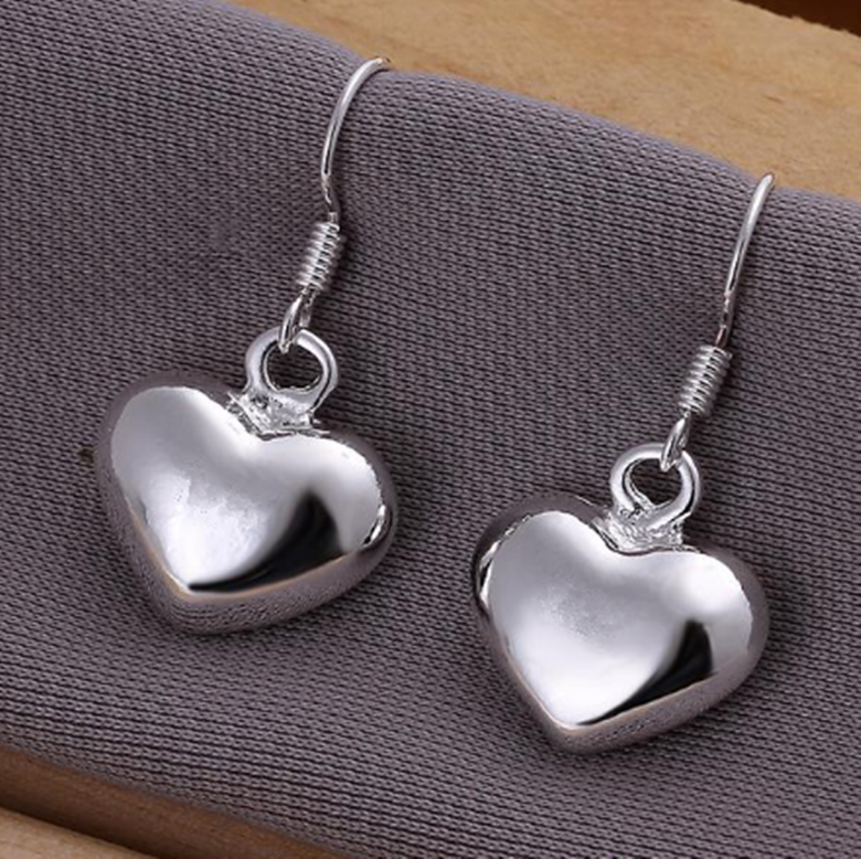 Women 925 Sterling Silver Love Heart High Polish Drop Dangle