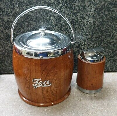 Vintage Wooden Tea Caddy with Ceramic Liner & Vintage Wooden Table Lighter.