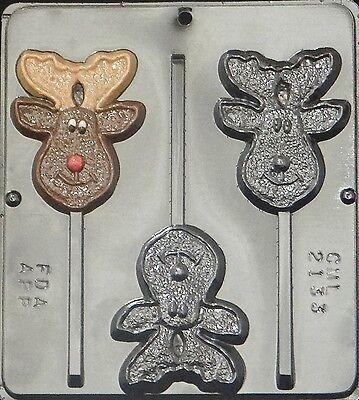 Happy Reindeer Moose Lollipop Chocolate Candy Mold Christmas 2133 NEW