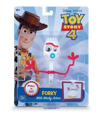NEW Thinkway Toys Disney Toy Story 4 Pull n Go Forky wacky Action Figure 6 Inch