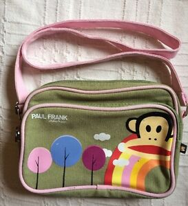 Paul Frank girls green canvas shoulder bag with zip fastenings