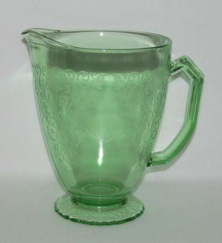 Hazel Atlas Glass Co. FLORENTINE No.1 Poppy Green Footed Water Pitcher