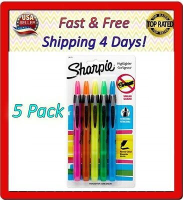 Sharpie Accent Retractable Assorted 5 Pack Easy Glide Versatile Chisel Tip New