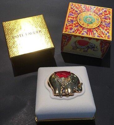 Vintage Estee Lauder Gold tone Elephant 'BEAUTIFUL' SOLID PERFUME Compact Nib!