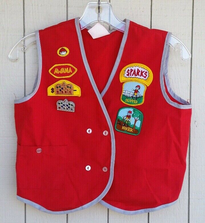 Vintage Awana Sparks Red Uniform American Boy Scout Vest with Patches Badges XL