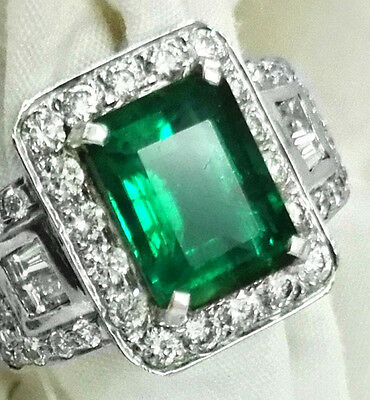 TOP TOP 4.59 ct. Natural Green Zambia Emerald Engagement 18k gold Diamond Ring
