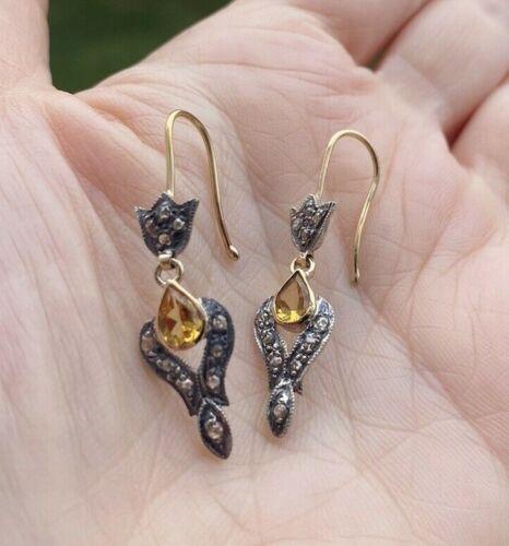 ANTIQUE VICTORIAN CITRINE DIAMOND 14K GOLD SILVER DANGLE EARRINGS