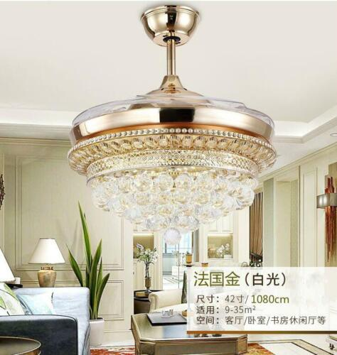 Gold Crystal Invisible Ceiling Fan Light Lamp Home Chandelie