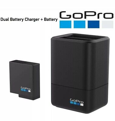 Official Gopro Dual Battery Charger + 1x Battery for HERO 5/6/7/8 Black