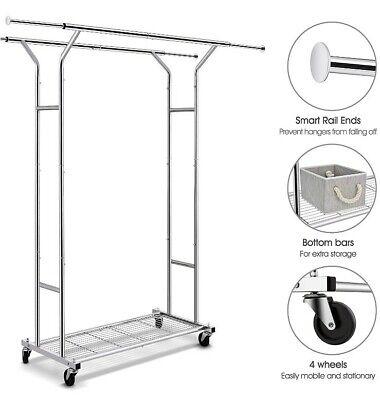 Simple Trending Double Rail Clothing Garment Rack Wbottom Wired Shelf Chrome