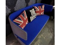 NEW Godfrey Syrett Mr Jones Soft Seating Curved 2 Seater Sofa Blue & Grey UK Delivery