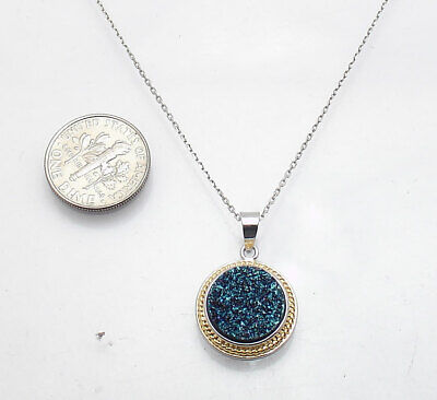 Blue Drusy Druzy Pendant with Cable Chain Necklace Anti-Tarnish Real 925 Silver Drusy Druzy Pendant