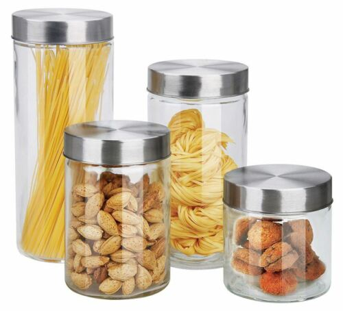 Home Basics 4 Piece Round Glass Canisters with Stainless Ste