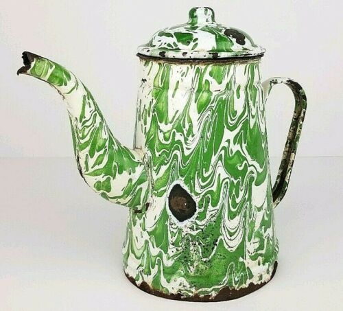 Antique Distressed Green Swirl Graniteware Enamelware Gooseneck Coffee Pot w Lid