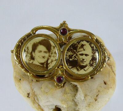 Antike Jugendstil ANSTECKNADEL BROSCHE mit Foto Doppelporträt / DOUBLE GOLD*