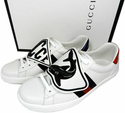 Gucci Homme Neuf Ace Basket Shark Patchs Basse Baskets 8 Uk- 9 US Chaussures