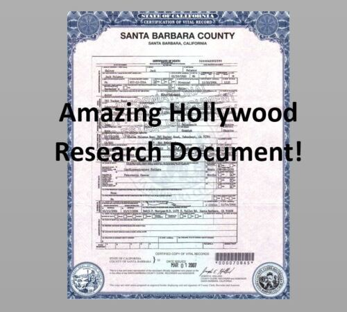 Jack Palance DEATH CERTIFICATE Research Document, Shane Sudden Fear Film Star