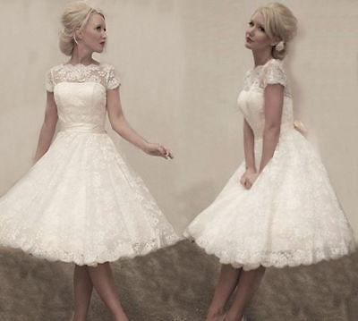 Vintage Weiß / Elfenbein Spitze Tee Länge Kurzes Hochzeitskleid Brautkleid   3# ()