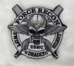 FORCE-RECON-USMC-MILITARY-MARINE-SWIFT-DEADLY-SILENT-Skull-Velcro-Patch-SJ