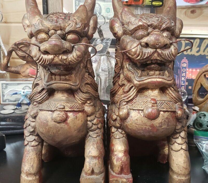 PAIR of Handmade Dog Garuda Statue
