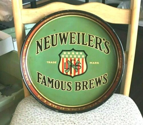 """VINTAGE NEUWEILER BEER - BREWING CO  METAL - TIN LITHO 13"""" TRAY ALLENTOWN PA"""