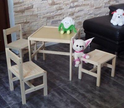 Kinder Tisch Stuhl (Kindersitzgruppe Kindertisch Kinderstuhl Kinderhocker Kinder Möbel Massivholz)