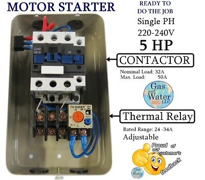 MAGNETIC MOTOR STARTER CONTROL 5 HP Single Phase 220/240V 24-34A + on/off button